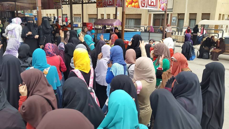 Students protest at Al-Azhar University on Sunday  (Photo from Students Against Coup)