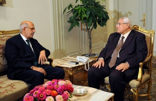 handout picture released by the Egyptian Presidency shows Egypt's interim president Adly Mansour (R) meeting with opposition National Salvation Front leader Mohamed ElBaradei in Cairo on July 6, 2013. Egypt's presidency said Saturday that ElBaradei has not been officially appointed prime minister, after several official sources said the former UN nuclear watchdog chief had been named premier. (Photo Egyptian Presidency/AFP)