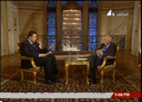 In an interview on Saturday with state television, Prime Minister Hazem El-Beblawi explained the state had needed to create the cabinet quickly and defended his cabinet appointments, saying that he had chosen according to their merits. (Photo screen Garb from the state TV interview)