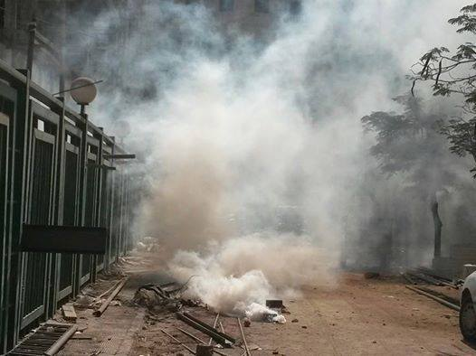 In Beni Suef, police forces fired tear gas and birdshot, after campus security attacked a student protest. (Photo from Student Against Coup)
