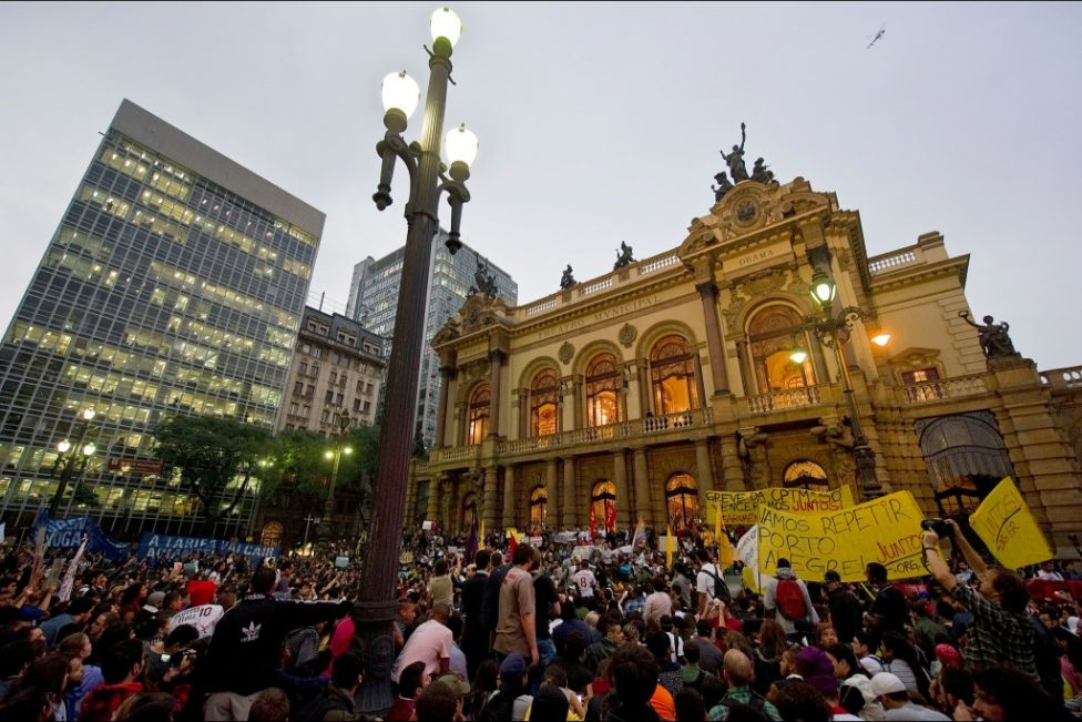 Students protest against the rise in public bus and subway fares in Sao Paulo on June 13, 2013. (Nelson Almeida - AFP/Getty Images)