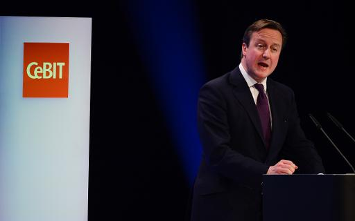 British Prime Minister David Cameron delivers a speech at the opening ceremony of the 2014 CeBIT technology trade fair on March 9, 2014 in Hanover, central Germany  (AFP, John MacDougall)