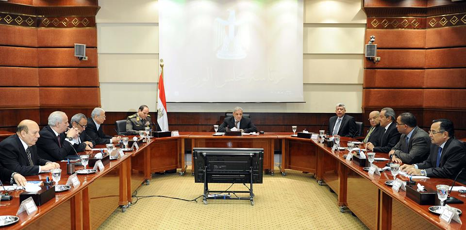 Interim Prime Minister Ibrahim Mehleb's cabinet held a meeting followed the shooting of at least five military police conscripts on Saturday at dawn at a checkpoint at Mostorod near the Cairo-Ismailia agricultural road. (Photo Cabinet Handout)