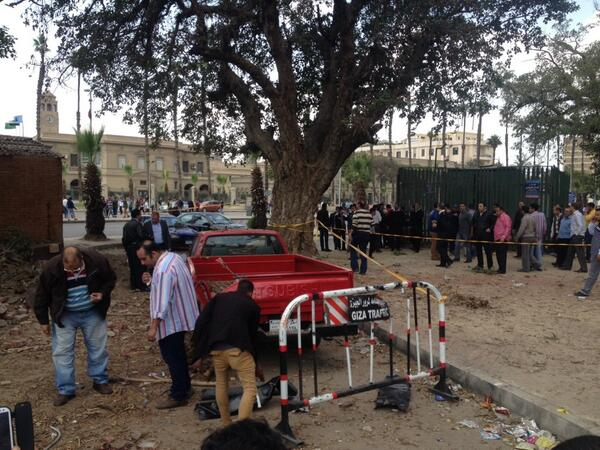 Two consecutive explosions went off outside Cairo University's Faculty of Engineering in Giza on Wednesday morning, killing one and injuring five (Photo by Basil El-Dabh)