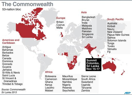 Graphic map of the Commonwealth member nations  (AFP)