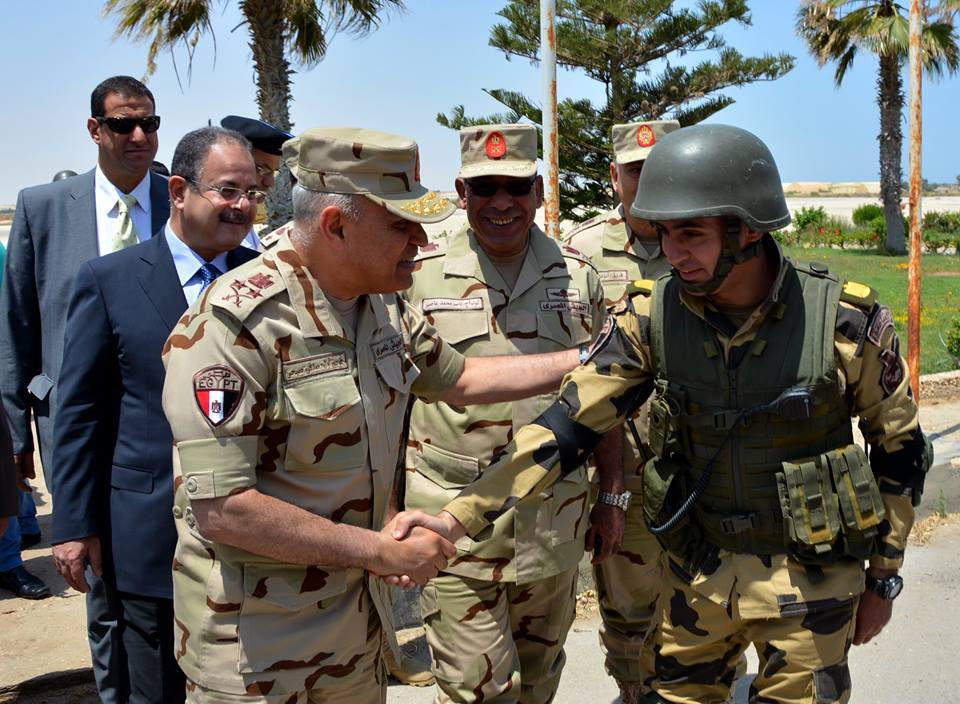 Defence Minister Sedki Sobhi along with Interior Minister Magdy Abdel Ghaffar visited security forces stationed in North Sinai, and checked several security sites Wednesday morning. (Photo Ministry of  Defence Handout)