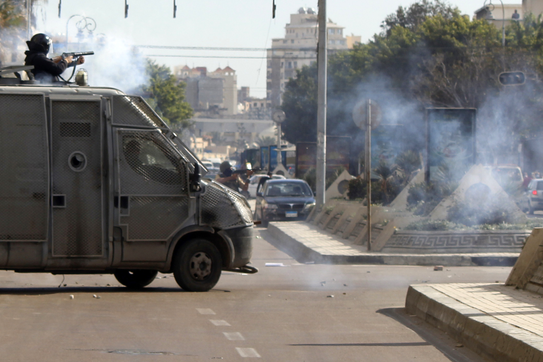 Marches were interrupted by security forces using teargas and birdshot (Photo by Ahmed Arab)