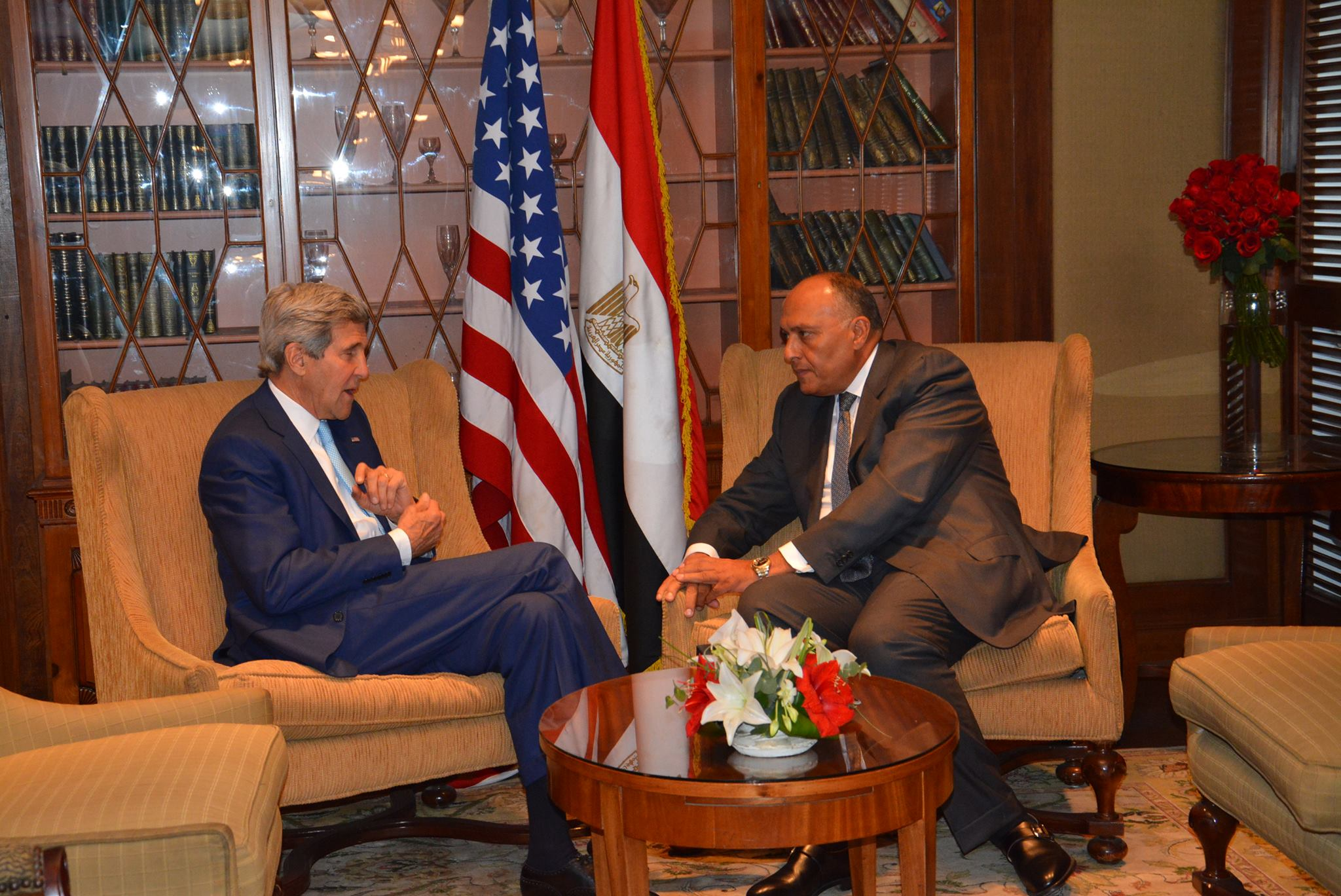 John Kerry and Sameh Shoukry met in Cairo to discuss regional issues  (AFP File photo )
