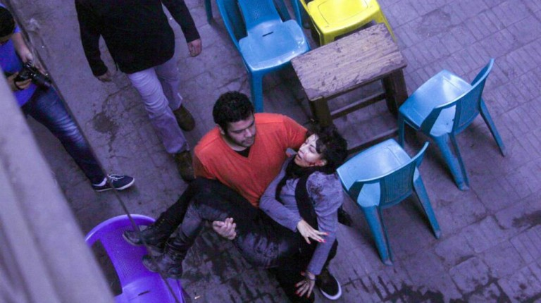 Socialist Popular Alliance member carries Shaimaa al-Sabbagh who was killed as police broke up their march in downtown Cairo, Egypt 24 January 2015