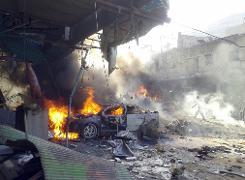 Car bomb kills 20 in northwest Syria's Idlib, in the town of Darkush - AFP PHOTO