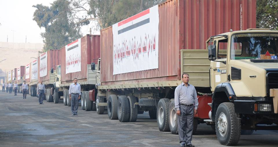"The Egyptian armed forces said in a statement that it has sent 200 tons of food supplies to the ""Palestinian brothers in the Gaza Strip"".  (Photo courtesy of Egyptian Army)"