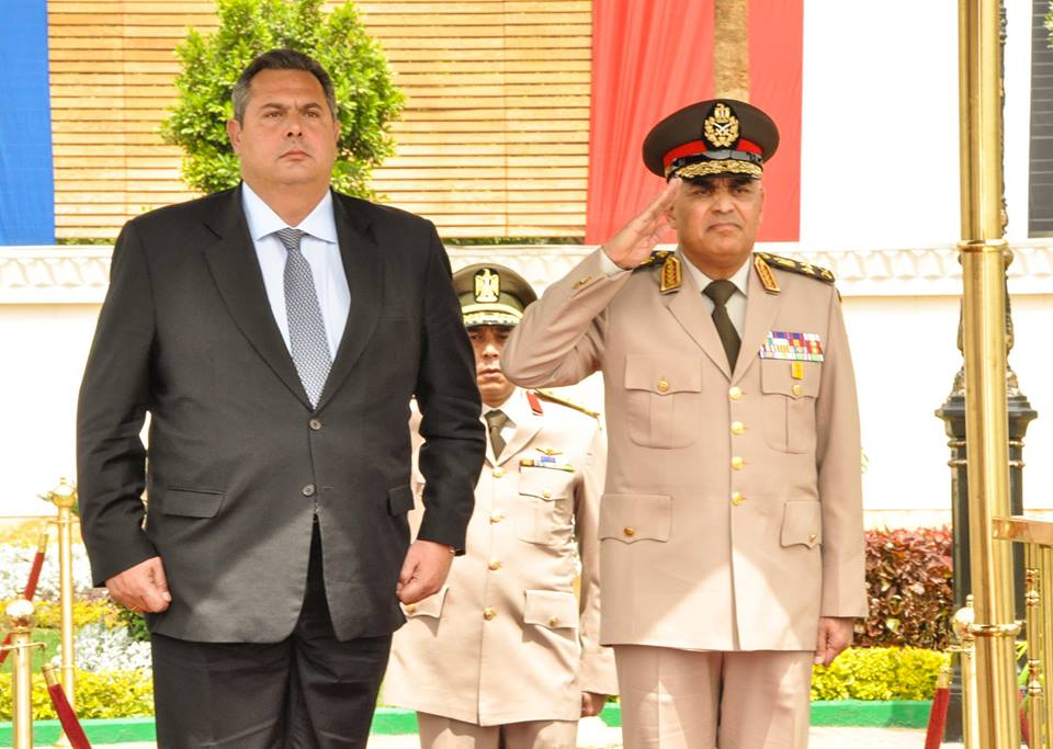 Egyptian Defence Minister Sedki Sobhi met with his Greek counterpart Panos Kammenos Monday, to discuss regional issues and an enhanced bilateral military and security cooperation. (Photo Defence Ministry Handout)