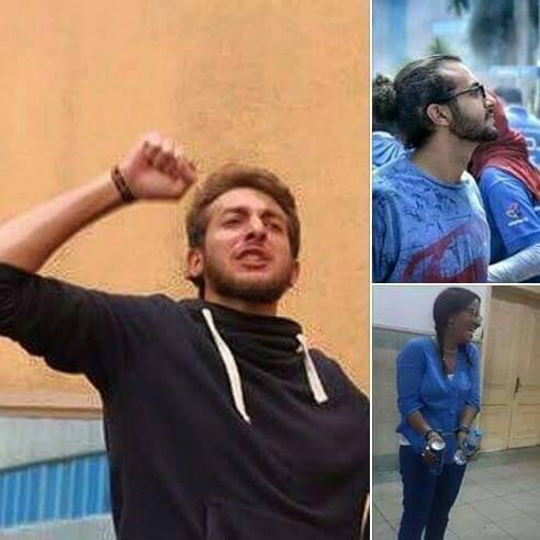 The GUC Student Union's president, Hazem Abdel Khalek, Vice President, Karim Nagib, and student, Alaa Al-Attar, were released Wednesday, according to the union's representative Ahmed Hashim. (Photo from The Insider GUC)