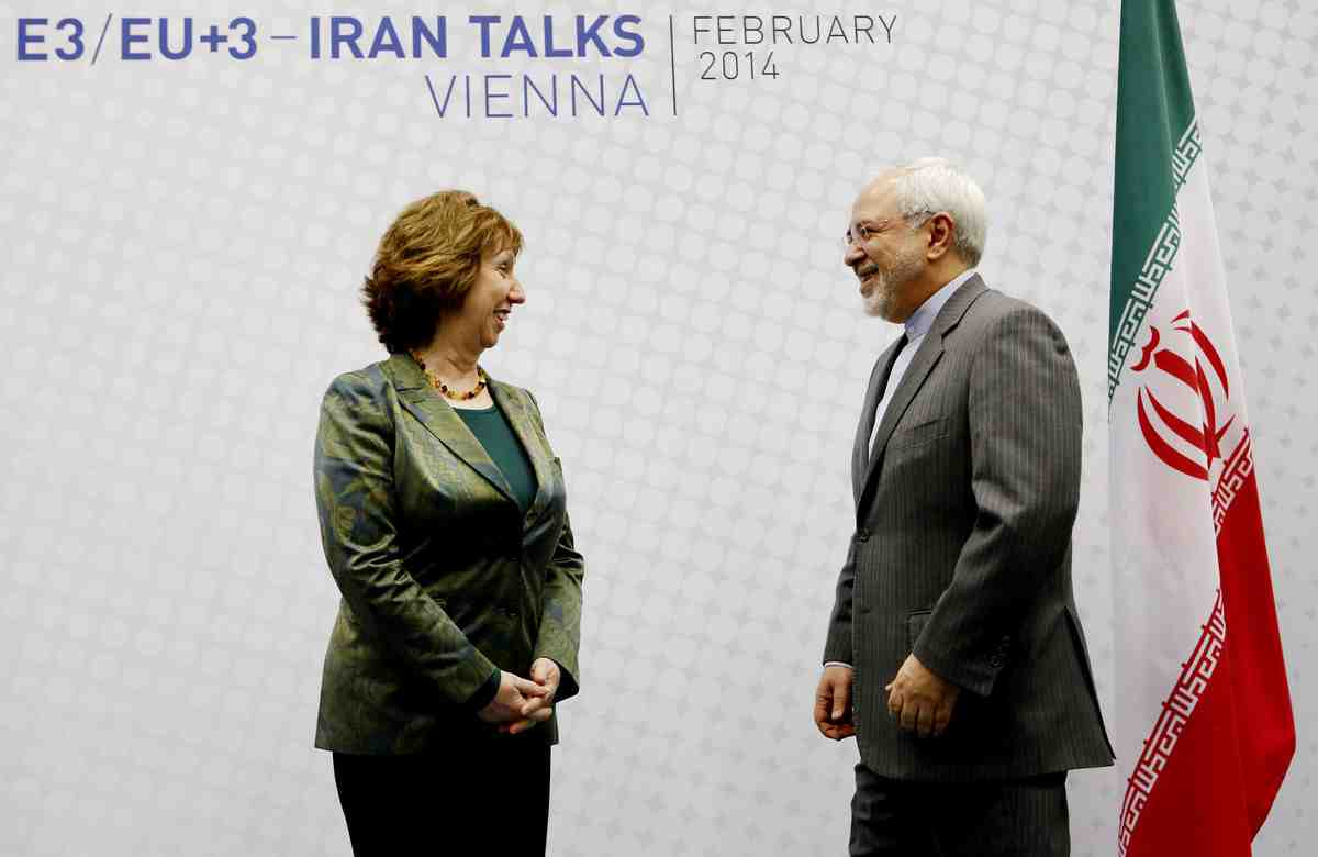 Catherine Ashton, left, Vice President of the European Commission and Mohammad Javad Zarif, Iranian Foreign Minister pose for a picture prior to the EU 5+1 talks with Iran at the UN headquaters in Vienna, Austria on February 18, 2014 (Dieter Nagl/AFP via Getty Images)