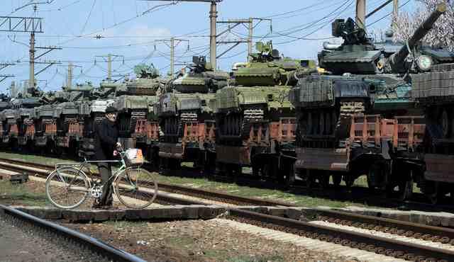 Russian tanks after their arrival in Gvardeyskoe railway station near the Crimean capital Simferopol, on March 31, 2014.  (Olga Maltseva/AFP via Getty Images)
