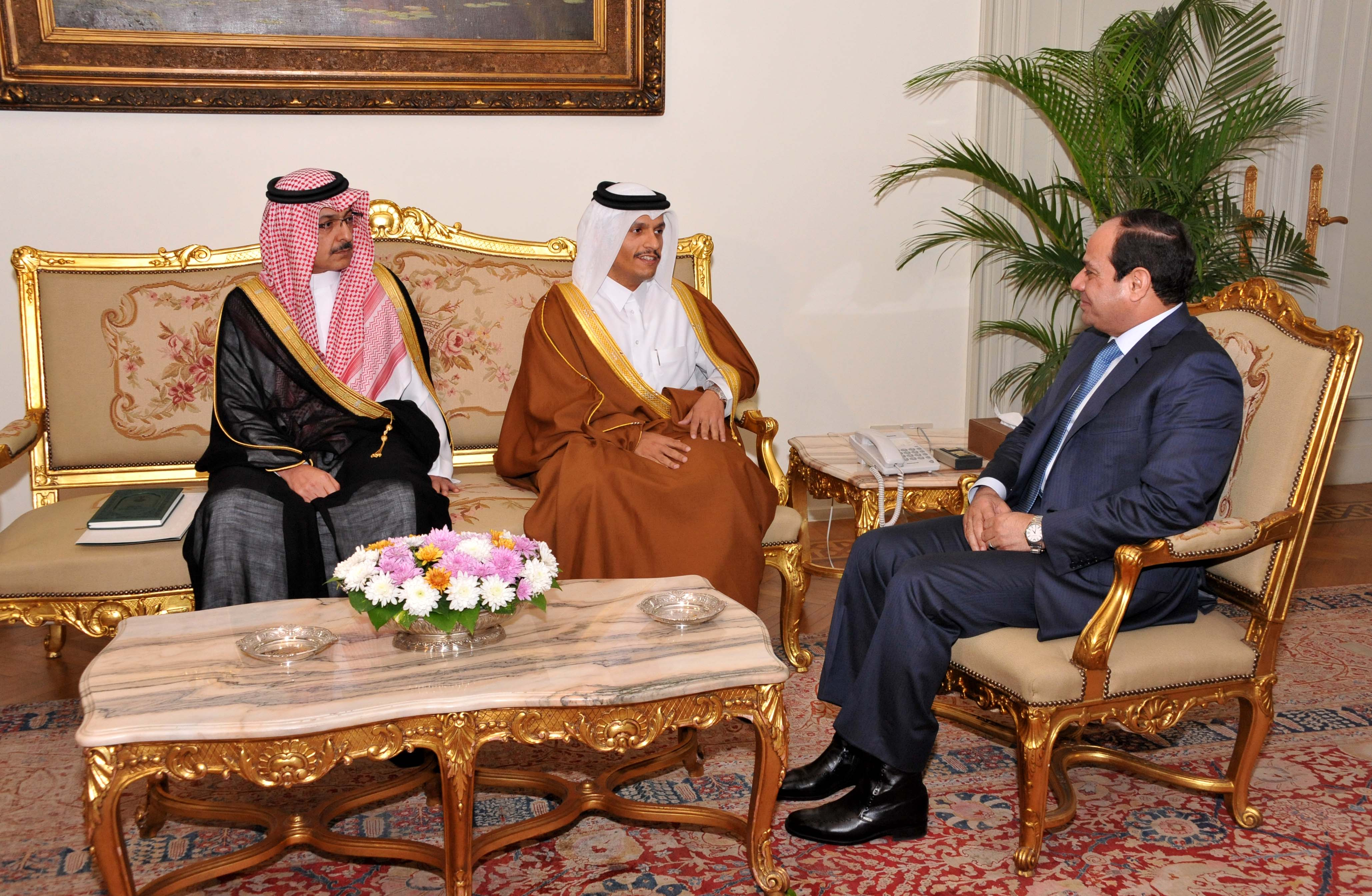 President Abdel Fattah Al-Sisi received the diplomatic envoy on behalf of the Emir of the State of Qatar Sheikh Tamim bin Hamad, (right) and President of the Saudi Royal Court Khalid al-Tuwaijri (left) at the presidential palace on 20 December, 2014