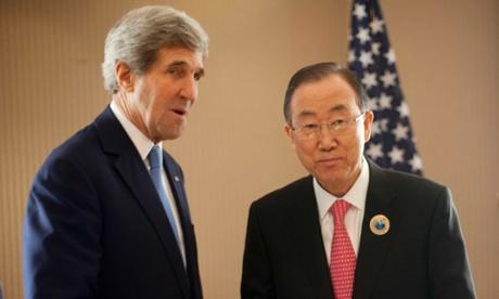 Ban Ki Moon, Kerry head to Cairo for Gaza ceasefire talks. (Pablo Martinez Monsivais/AFP/Getty Images)