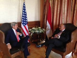 Foreign Minister Sameh Shoukry and his US counterpart John Kerry discussed Egypt's regional role in the Middle East peace process and tackling extremism in the region. (Photo Ministry of Foreign Affairs Handout)