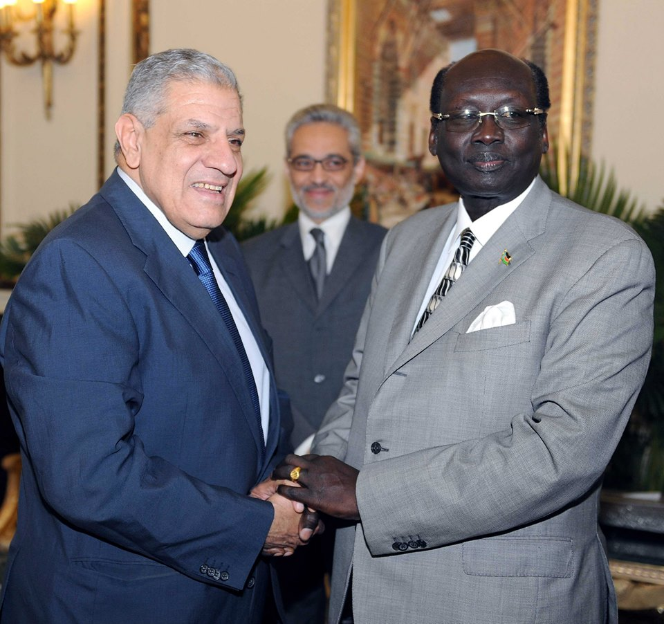South Sudanese Foreign Minister Barnaba Benjamin met with Prime Minister Ibrahim Mehleb on Tuesday, having participated in an Arab League ministerial level meeting in Cairo.  (Photo Cabinet Handout)