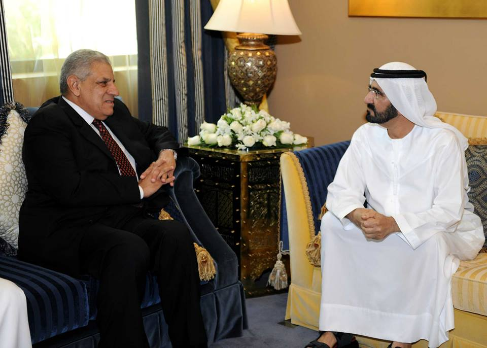 Prime Minister Ibrahim Mehleb meets Emirati Prime Minister and Vice President Mohammed bin Rashid Al Maktoum, the two discussed political, economic and developmental matters related to the current Arab situation. (Photo Cabinet Handout)