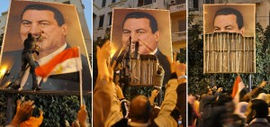 In a series of photos taken on 27 January 2011, demonstrators in the port city of Alexandria dismantle the image Hosni Mubarak (AFP Photo)