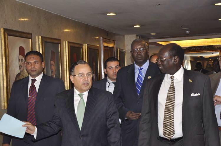 Foreign Minister Nabil Fahmy met Saturday with his South Sudanese counterpart Barnaba Benjamin as the pair seek to expand economic ties and trade relations between the two African nations.  (Photo Ministry of Foreign Affairs Handout)
