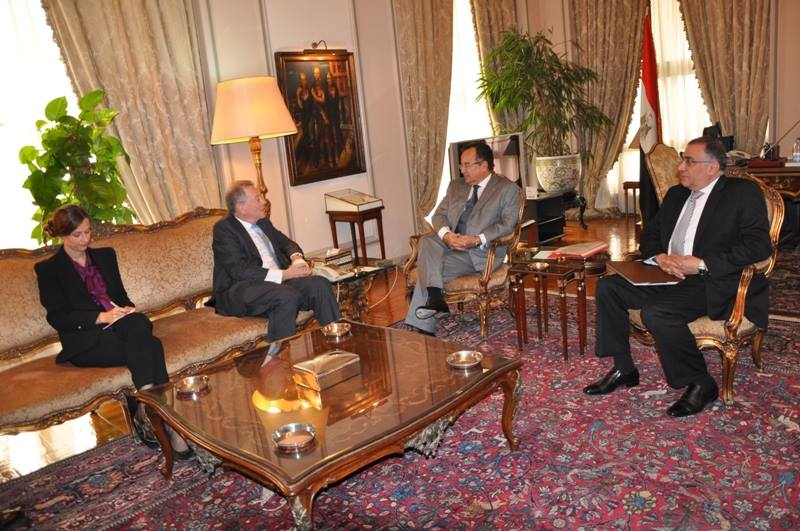 Minister of Foreign Affairs Nabil Fahmy met with the United Nations Special Coordinator for the Middle East Peace Process Robert Serry on Tuesday morning in Cairo to discuss ongoing peace efforts between Israel and Palestine.  (Photo Courtesy of Foreign Ministry)