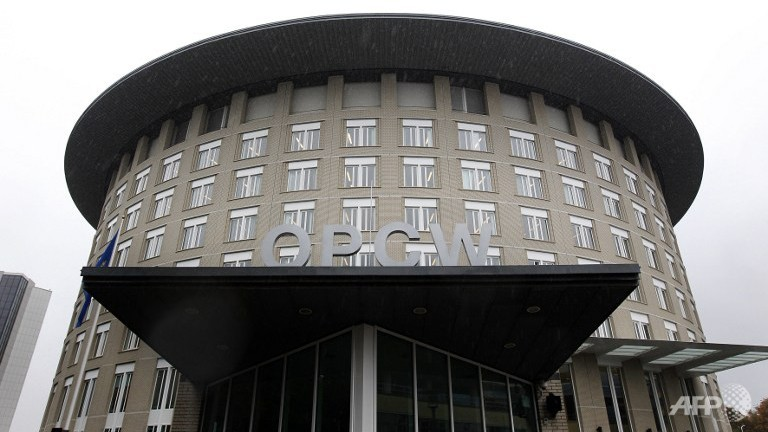 The Organisation for the Prohibition of Chemical Weapons (OPCW) building in The Hague, The Netherlands.  (AFP/ANP/Bas Czerwinski)