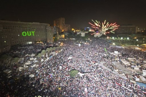 Protesters mass to demand the removal of Egyptian President Mohamed Morsi, in Cairo's Tahrir Square, on July 2, 2013 (AFP Photo)