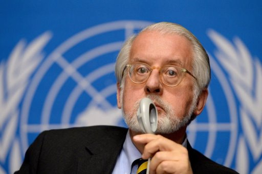 Chairman of the UN Commission of Inquiry on Syria, Paulo Sergio Pinheiro, pictured on September 16, 2013 in Geneva (AFP, Fabrice Coffrini)