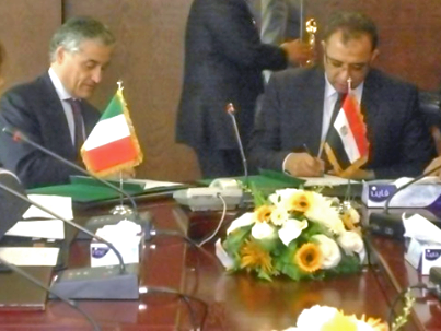 Minister of Planning Ashraf El-Araby signed an agreement with the Italian Ambassador in Egypt Tuesday to finance a €1m social and economic development project on Egypt's north coast (Photo courtesy of Ministry of Planning)