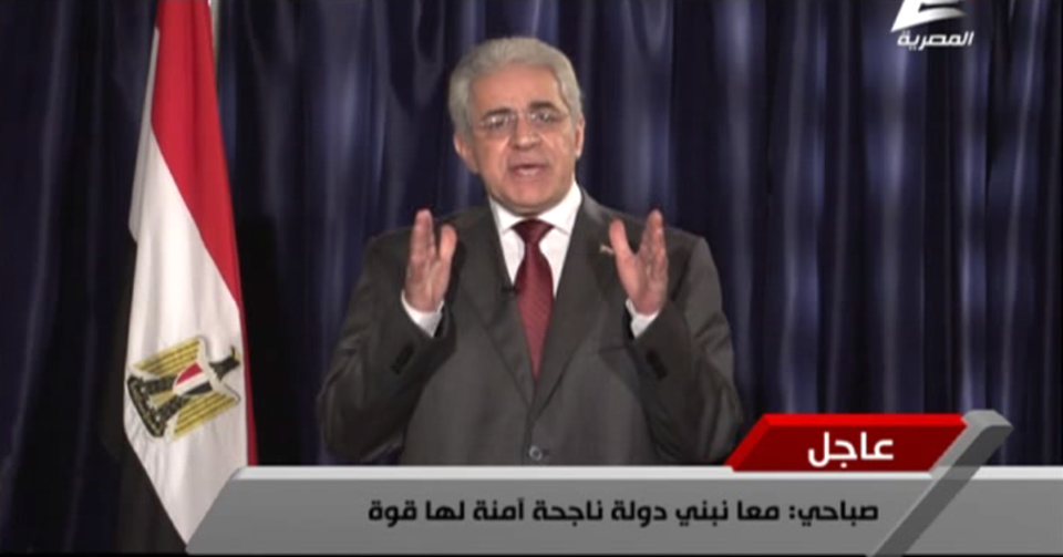 Presidential candidate Hamdeen Sabahy vowed to achieve social justice, dignity and national independence should he become Egypt's next president, in his first national address on state television on Saturday. (Photo courtesy of Hamdeen Sabahy)