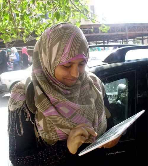 Journalist Samah Ibrahim was sentenced on Monday to a year's hard labour alongside nine others for illegal assembly. (Photo from FJP)