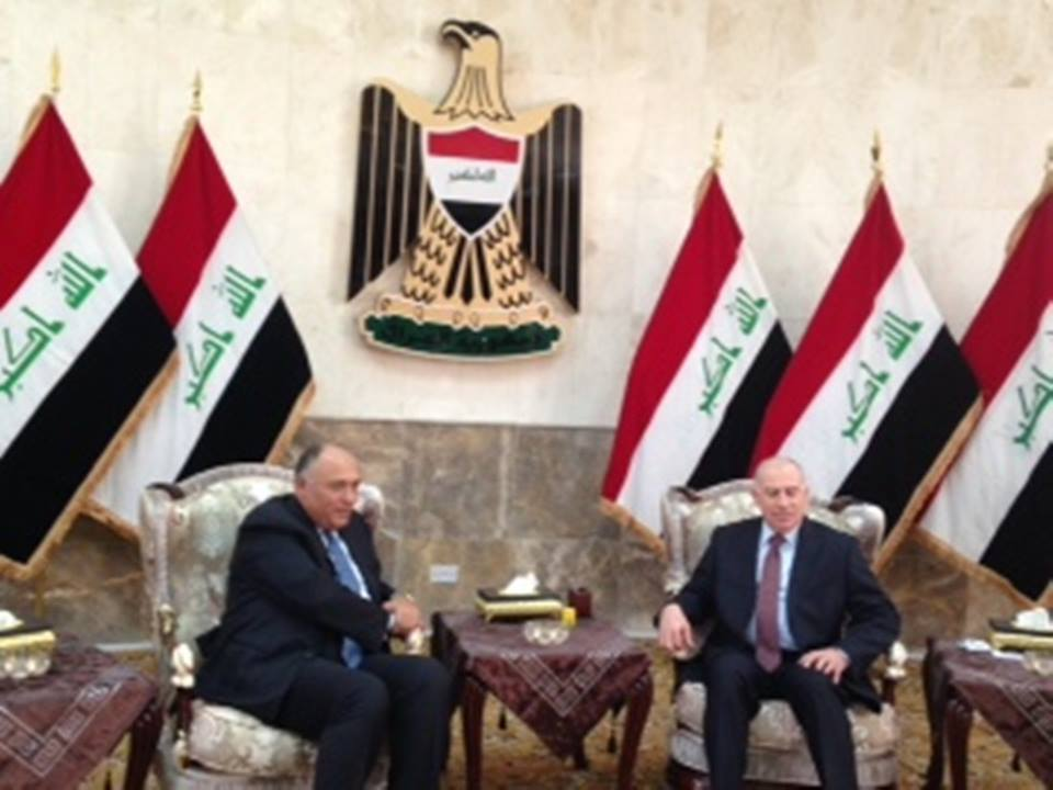 Foreign Minister Sameh Shoukry arrived in the Iraqi capital Baghdad Wednesday, where he discussed Egyptian support for Iraq with Iraqi Vice President Usama Al-Nujayfi. (Photo Ministry of Foreign Affairs Handout)