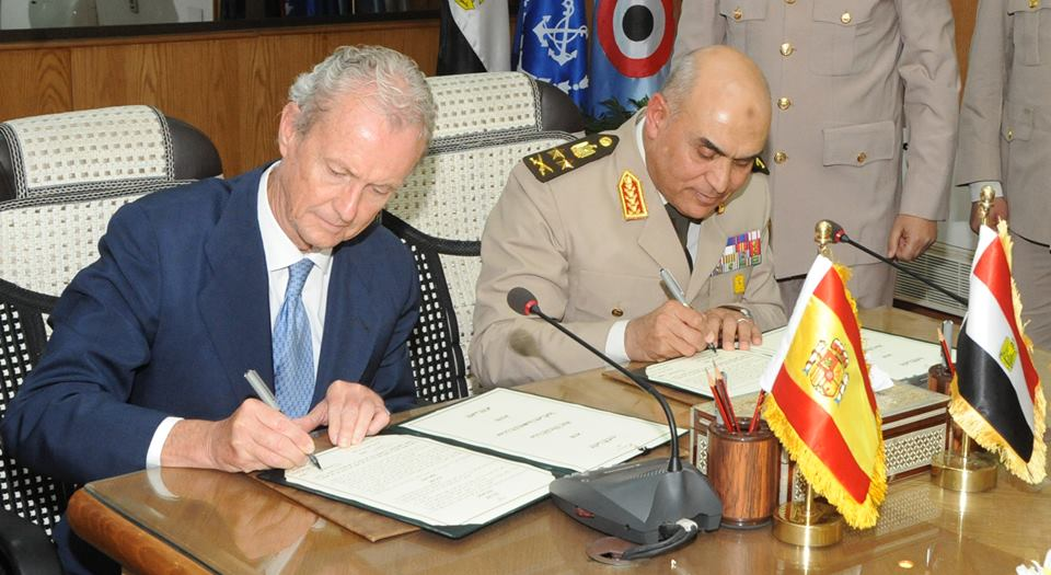 Egypt's Defence Minister Sedki Sobhi and his Spanish counterpart, Pedro Morenes, have signed a memorandum of understanding (MoU) in military cooperation Tuesday, the first agreement between both countries since 1953. (Photo Ministry of Defence Handout)