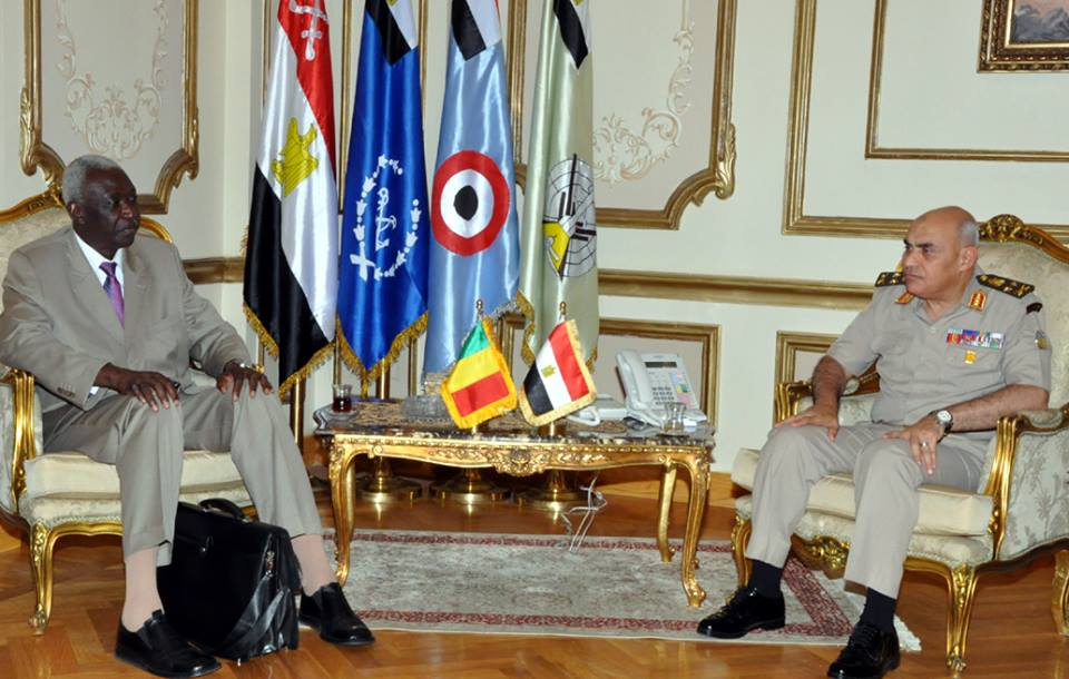 Minister of Defence Sedki Sobhi met Bah N'Dao, the Malian minister of defence and veterans affairs, in Egypt on Monday to discuss the current regional situation and the implications on the security and stability in Africa. (Photo Ministry of Defence Handout)