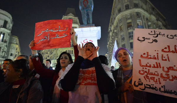 Egyptian protesters hold up placards and shout slogans during a demonstration in Cairo against sexual harassment on February 12, 2013. Egyptian protesters took to the street again to demand an end to sexual violence, as campaigns against the repeated attacks in central Cairo pick up steam. Sexual harassment has long been a problem in Egypt, but recently the violent nature and frequency of the attacks have raised the alarm.  (AFP PHOTO / KHALED DESOUKI)