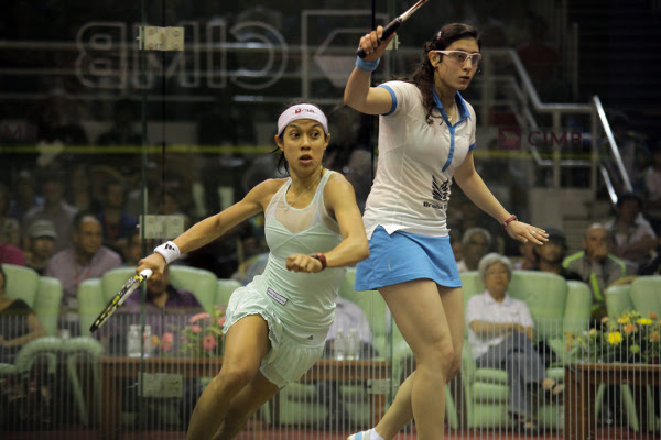 Egyptian teenager Nour El-Sherbini (pictured above, right, in action with David) took the second, and alarm bells rang as the 30-year-old Penang superstar - bidding to extend her record to eight titles - lost the third. (Photo Courtesy of Women's Squash Association)