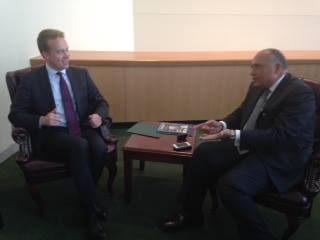 Egyptian Foreign Minister Sameh Shoukry met with Norwegian Foreign Minister Borge Brende on Saturday. (Photo Ministry of Foreign Affairs Handout)