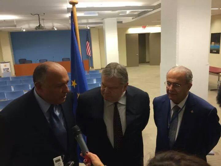 the Egyptian Minister of Foreign Affairs Sameh Shoukry met with his Cypriot counterpart Minister Ioannis Kasoulides, and the Greek Deputy Prime Minister Evangelos Venizelos (Photo Ministry of Foreign Affairs Handout)