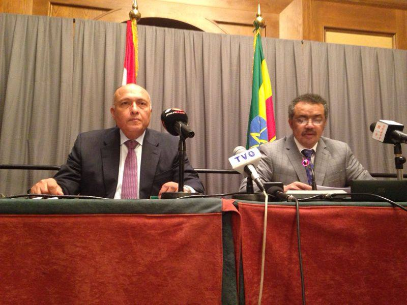 Foreign Minister Sameh Shoukry and  his Ethiopian counterpart Tedos Adhanom oversaw on Monday the signing of five agreements and memorandums of understanding between their two countries in the fields of trade, health, and bilateral relations. (Photo Ministry of Foreign Affairs Handout)