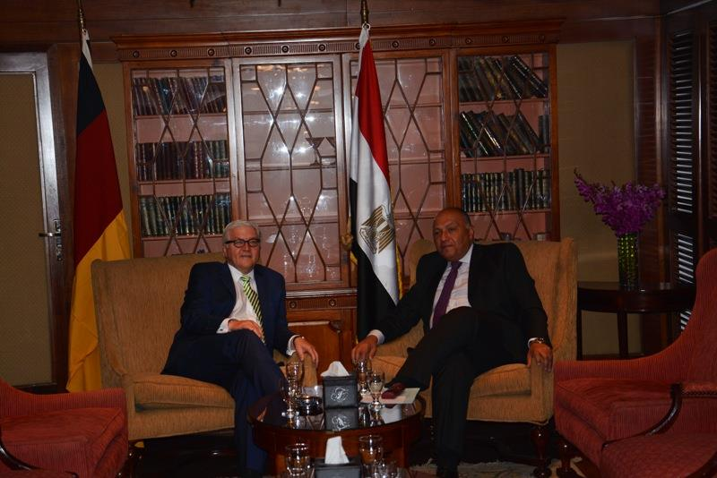 Foreign Minister Sameh Shoukry met with his German counterpart Frank-Walter Steinmeier Monday morning to discuss regional issues, including Libya, Yemen, Syria and bilateral relations between Egypt and Germany. (Photo Ministry of Foreign Affairs Handout)