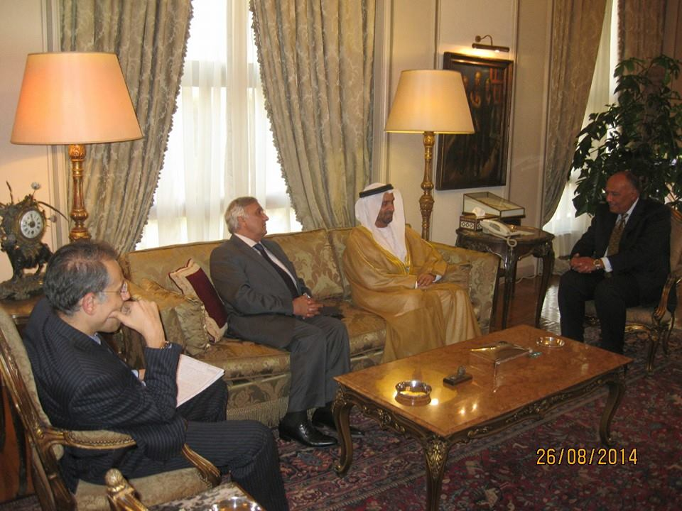 Foreign Minister Sameh Shoukry met with Head of the Arab Parliament Ahmed Mohamed Al-Jarwan to discuss ways to enhance the joint cooperation between Egypt and the Arab Parliament to address the current regional situation. (Photo Ministry of Foreign Affairs Handout)