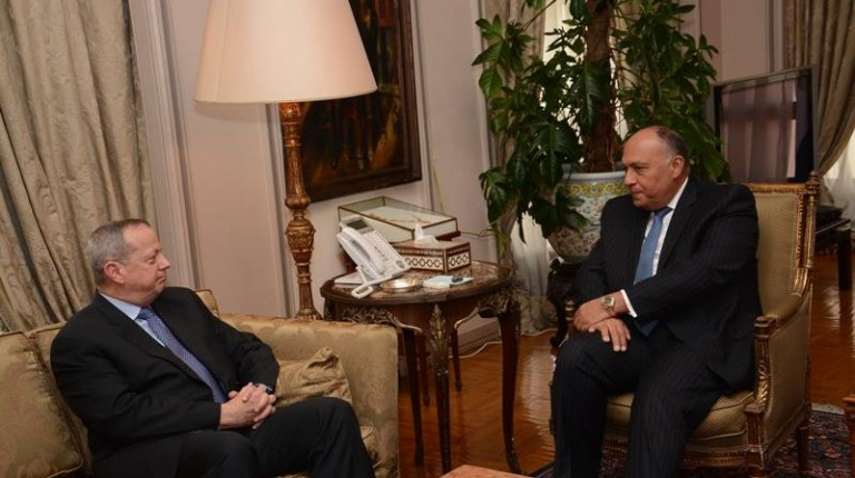 Egypt's Foreign Minister Sameh Shoukry met the US special presidential envoy for the Global Coalition to Counter ISIS, John Allen, Sunday to discuss the coalition's efforts. (Photo Ministry of Foreign Affairs Handout)