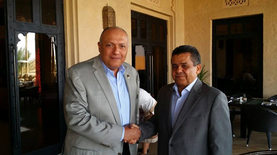 Minister of Foreign Affairs Sameh Shoukry held talks on Libya in separate meetings held in the United Arab Emirates (UAE) with Libyan foreign minister Mohamed Al-Dairi. (Photo Ministry of Foreign Affairs Handout)