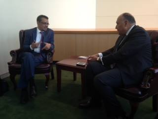 Egyptian Foreign Ministry Sameh Shoukry met with  Ethiopian Foreign Minister Tedros Adhanom (Photo Ministry of Foreign Affairs Handout)