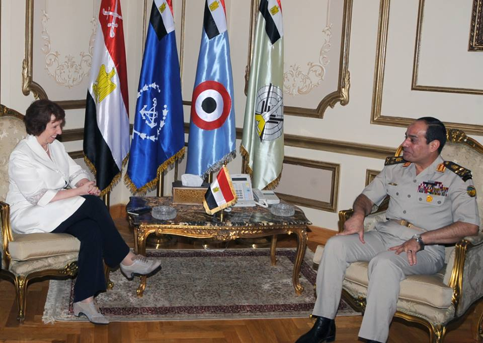 European High Representative for Foreign Affairs Catherine Ashton met with Minister of Defence Abdul Fatah Al-Sisi (Photo courtesy of Military spokesman Facebook Page)