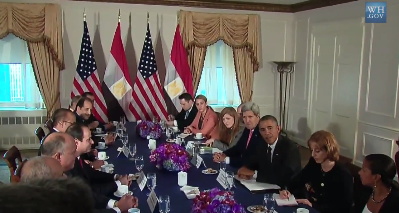 Egyptian President Abdel Fattah Al-Sisi and US President Barack Obama hold meeting at the UN (Screenshot from White House video)