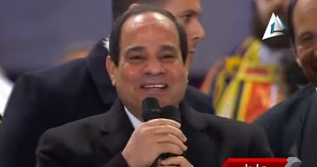 President Abdel Fattah Al-Sisi visited the Orthodox Cathedral in Abasseya Tuesday night during the Christmas mass, the first time an Egyptian head of state participated in a Christmas ceremony.  (Photo screen shot from Youtube)