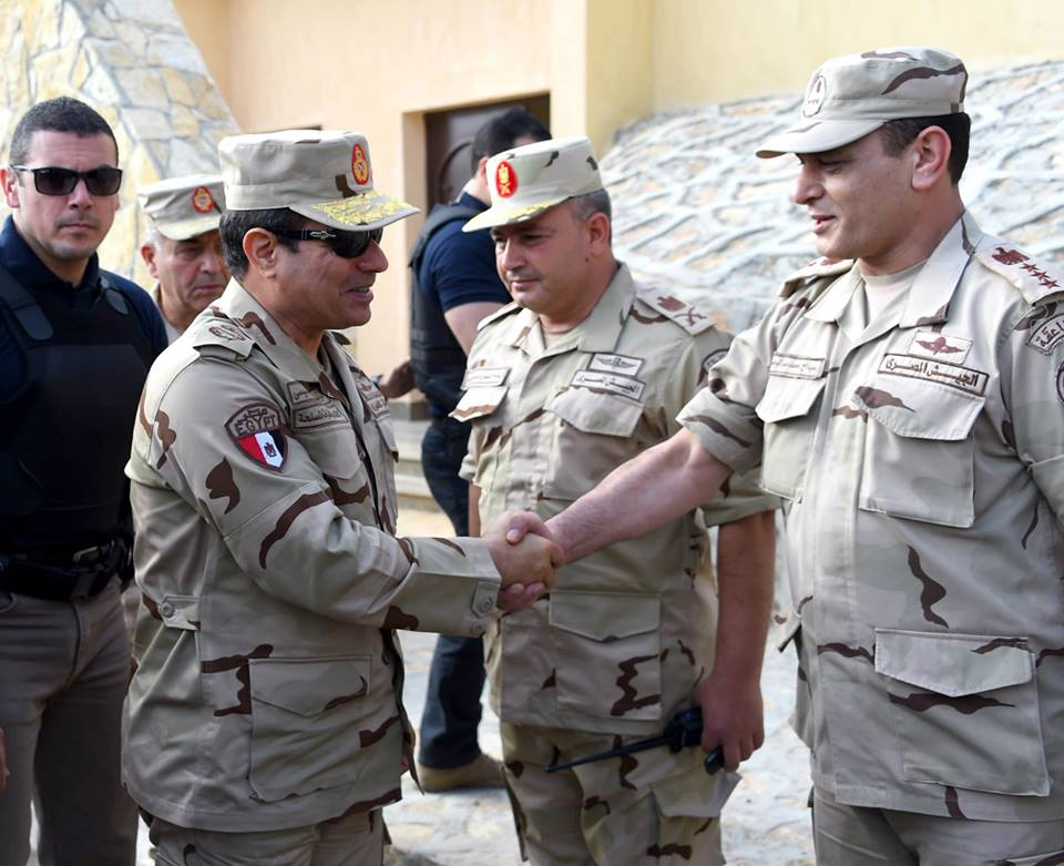 President Abdel Fattah Al-Sisi met with military commanders in North Sinai Saturday in his role as the Supreme Commander of the Armed Forces, wearing military uniform. (Photo Presidency Handout)